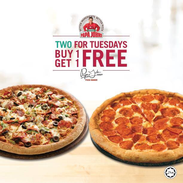 Papa Johns Two for Tuesdays