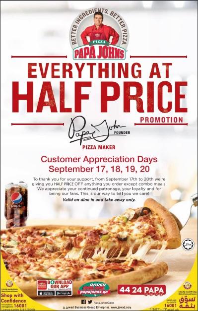 Papa Johns Pizza Half Price Promo