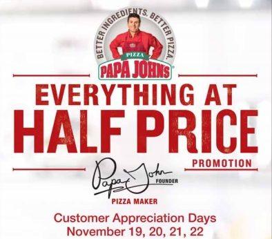 pizza half price at papa johns