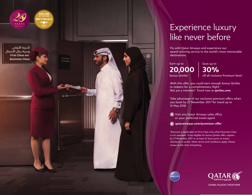Qatar Airways Up to 30% when you book on 27th of November
