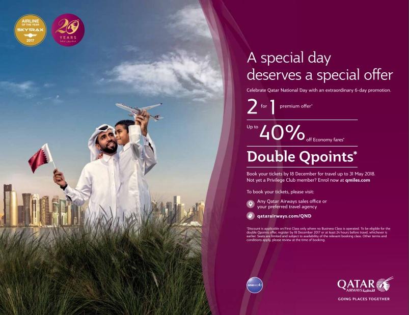 Qatar Airways National Day Offer Until 18-12-2017
