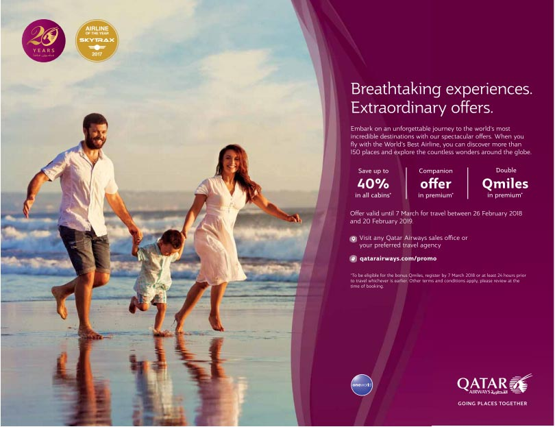 Qatar Airways Extraordinary Offers Up to 40% Discount