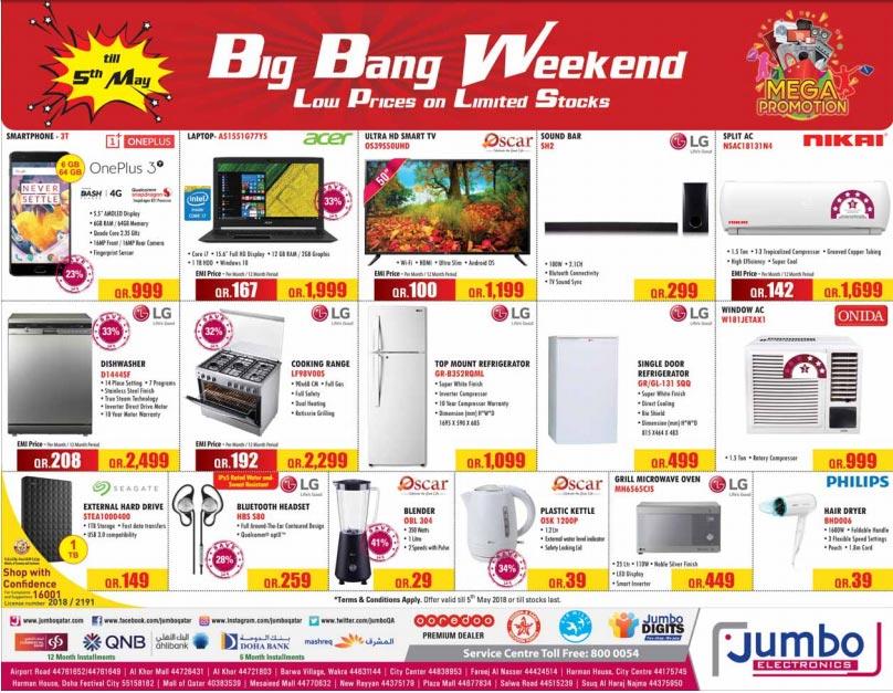 Jumbo Electronics Big Bang Weekend Sale 05-05-2018