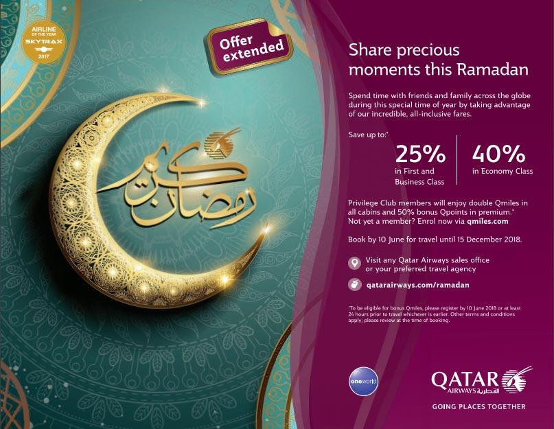 Qatar Airways Extended Ramadan Offers Until 10-06-2018